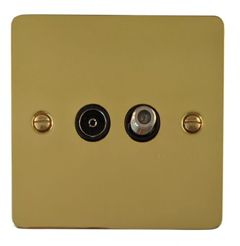 G&H FB38B Flat Plate Polished Brass 1 Gang TV Coax & Satellite Socket Point